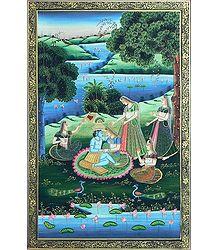 Radha Krishna with Gopinis in Vrindavan