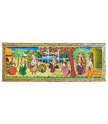 Krishna Looking at Radha on Swing - Miniature Painting