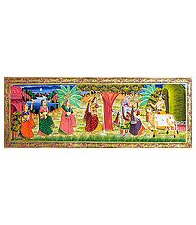 Krishna with Radha and Gopinis - Miniature Painting