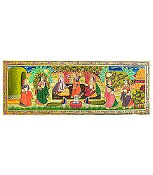 Radha Krishna with Gopinis - Miniature Painting on Silk