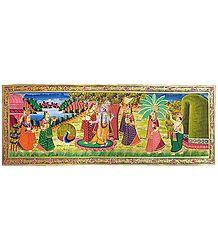 Radha Krishna with Gopinis - Miniature Painting