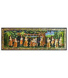Radha Krishna on a Swing - Miniature Painting