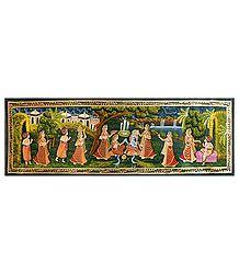 Radha Krishna with Friends - Miniature Painting