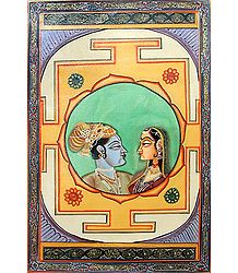 Radha Krishna - Miniature Painting on Canvas