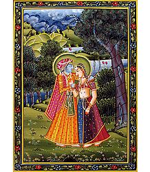 Radha Krishna - shop Online Painting on Silk Cloth