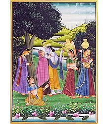 Radha Krishna in Vrindavan - Miniature Painting on Silk