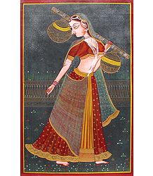 Ragini - Miniature Painting on Canvas
