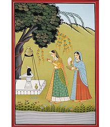 Ragini Bhairavi - Miniature Painting on Silk Cloth