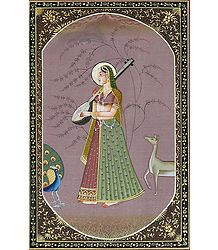 Ragini Kakubha - Miniature Painting on Silk Cloth