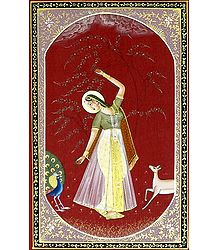 Ragini Vasanta - Miniature Painting on Silk Cloth