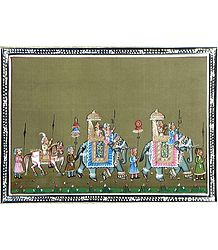 Royal Procession - Miniature Painting on Silk