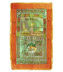 Printed Red Mazar Chaddar with Green Border