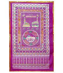 Dark Magenta Mazar Chaddar with Zari Border