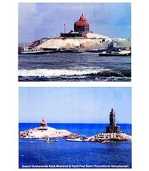 Vivekananda Rock Memorial and Thiruvalluvar Statue at Kanyakumari - Set of 2 Laminated Poster