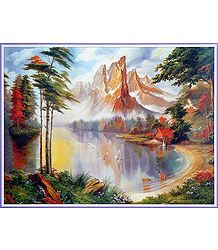 The Lake by the Mountain - Poster - Buy Online