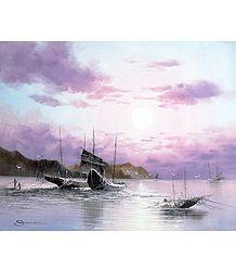 Sunset Over the Fishing Wharf