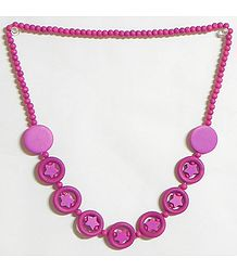 Magenta Stone Bead Tibetan Necklace