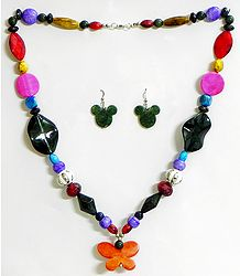 Multicolor Bead Necklace with Earrings