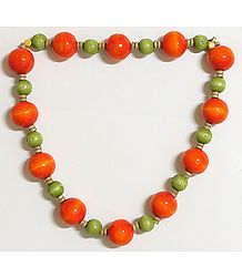 Ball of Fire - Dark Saffron and Light Green Wooden Bead Necklace