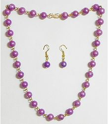 Light Mauve Bead Necklace with Earrings