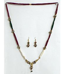 Maroon, Green and White Beaded Necklace with White Stone Studded Pendant with Earrings