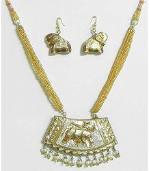 White Stone Studded Golden Adjustable Meenakari Necklace with Earrings