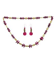 Magenta with Beige Beaded Necklace Set for Women