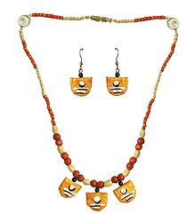 Saffron Paper Pendant and Earrings with Wooden Beads Necklace