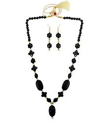 Black and Golden Bead Necklace with Earrings