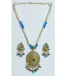 White and blue Bead and Stone Studded Necklace
