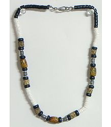 Black, Brown and White Bead Necklace