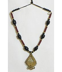Beaded Tibetan Necklace with Dhokra Pendant