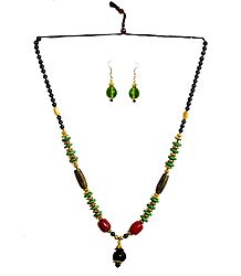 Wheel Bead Necklace with Earrings