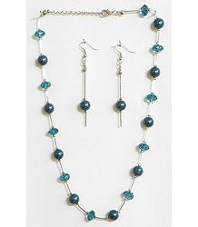 Dark Cyan Bead Necklace Set