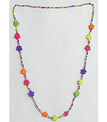 Multicolor Acrylic Bead Tibetan Necklace Set