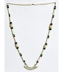 Bead Necklace with Zirconia Studded Pendant
