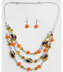 Three Layer Dark Saffron and Golden Yellow Bead Necklace with Earrings