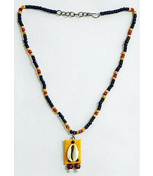 Red, Yellow and Black Wooden Bead Necklace with Cowrie Pendant