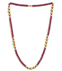 Red Crystal Bead and Gold Plated Bead Necklace