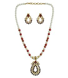 Buy Stone Studded Party Necklace with Earrings
