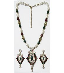 Maroon, Green and White Bead Necklace with White Stone Studded Pendant and Earrings