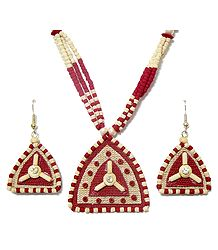 Red and Off-White Bead Necklace with Jute Pendant and Earrings