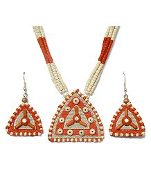 Saffron and Off-White Bead Necklace with Jute Pendant and Earrings