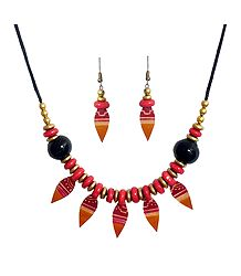 Red Bead Necklace with Leather Leaf