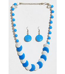 Blue and White Beaded Necklace