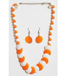 Saffron and White Beaded Necklace