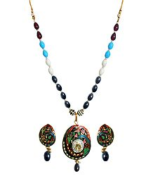 Multicolor Bead Necklace with Meenakari Pendant and Earrings