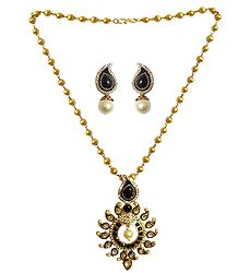 Gold Plated Bead Necklace with Earrings