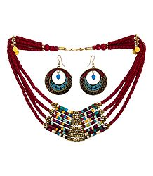 Red with Multicolor Stone Bead Tibetan Necklace and Earrings