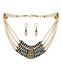 Off-White with Black Stone Bead Tibetan Necklace and Earrings